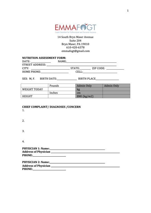 Nutrition Assessment Form Printable Pdf Download