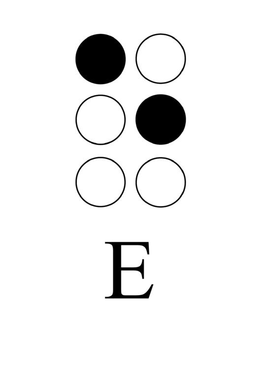 Braille Alphabet Chart - Letter E