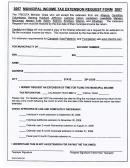 Municipal Income Tax Extension Request Form 2007