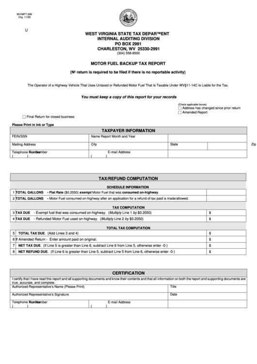Form Wv/mft-506 - Motor Fuel Backup Tax Report - West