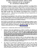 Form 301 - Instructions For Making Application For A Certificate Of Authority By A Business Corporation