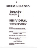 Form Hu-1040 - Individual Income Tax Retirn Instructions - City Of Hudson