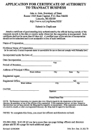 Application For Certificate Of Authority To Transact Business Form