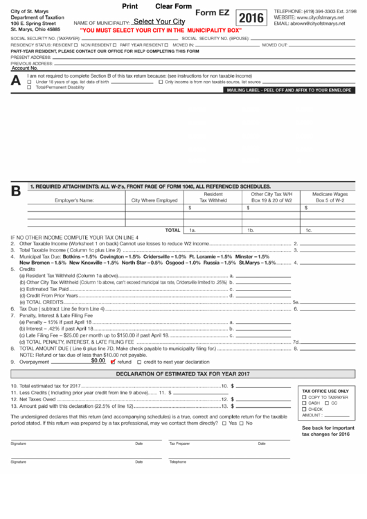 Fillable Form Ez - City Of St.marys Department Of Taxation Form Printable pdf