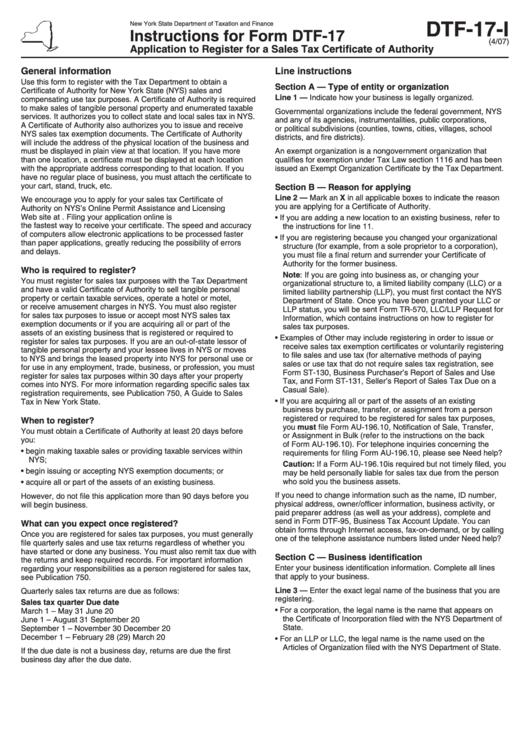 Form Dtf 17 I Instructions For Form Dtf 17 New York State