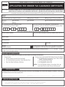 Form Vtc - 9541 - Application For Vendor Tax Clearance Certificate