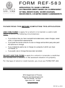 Form Ref-583 - Application To Claim A Refund Or Transfer Credit Based On Overpayment Of Real Estate Taxes, Water Charges, Sewer Rents, Or Improvement Assessments