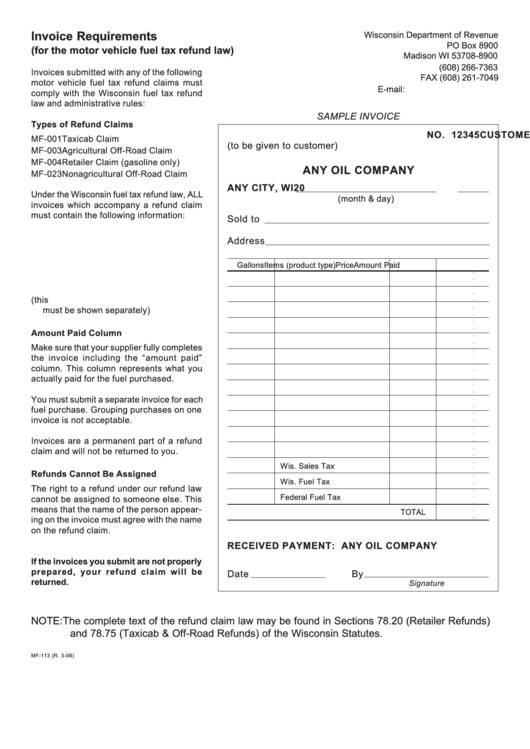 Form Mf-113 - Invoice Requirements Form (For The Motor Vehicle Fuel Tax Refund Law) - State Of Wisconsin Printable pdf