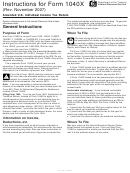 Instructions For Form 1040x - Amended U.s. Individual Income Tax Return - 2007