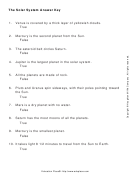 The Solar System Answer Key Worksheet