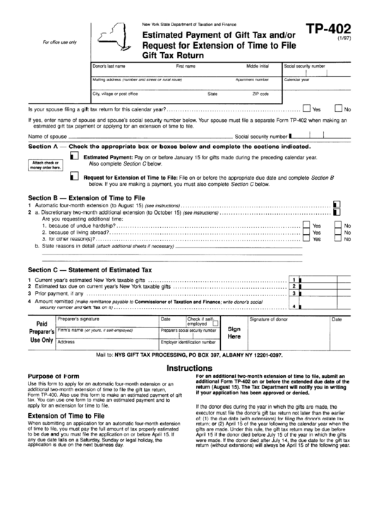 Form Tp-402 - Estimated Payment Of Gift Tax And/or Request For Extension Of Time To File Gift Tax Return Form - New York State Department Of Taxation And Finance Printable pdf