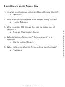 Black History Month Answer Key Worksheet