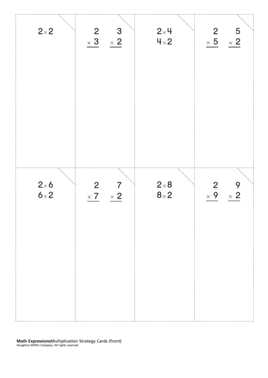 Math Expressions - Multiplication Strategy Cards Worksheet Printable pdf
