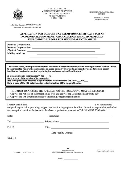 Form St-R-12 - Application For Sale/use Tax Exemption Certificate For An Incorporated Nonprofit Organization Engaged Primarily In Providing Support For Single-Parent Families Printable pdf