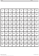 Math Expressions - Hundred Chart Worksheet