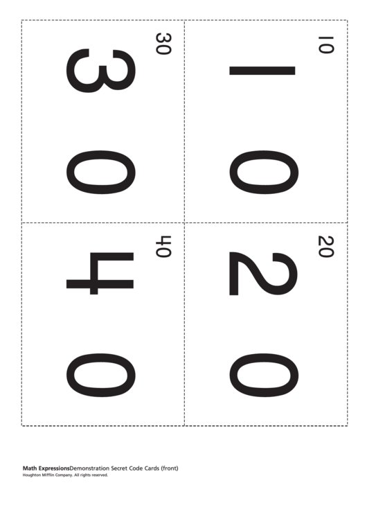 Math Expressions - Demonstration Secret Code Cards Worksheet
