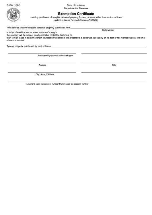 louisiana certificate form exemption state printable revenue department fillable pdf 1344