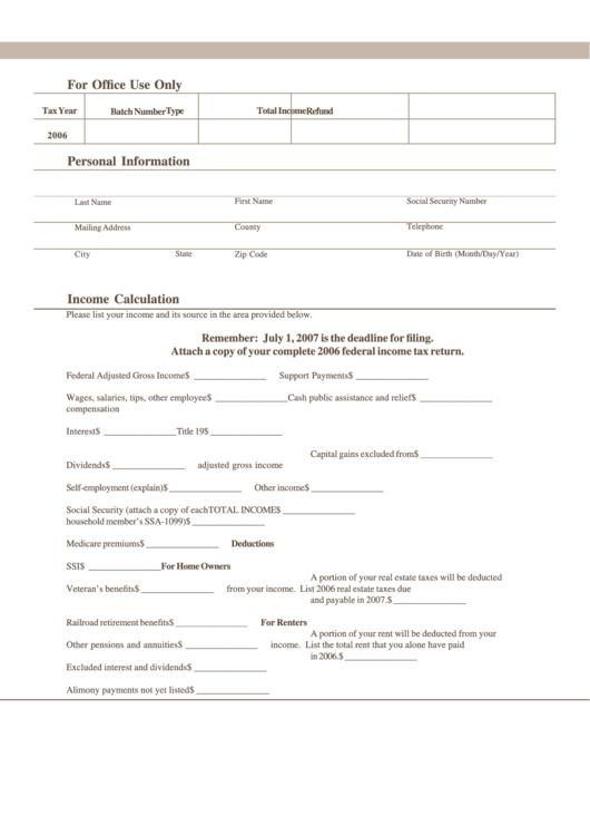 Income Calculation Worksheet - South Dakota Department Of Revenue & Regulation - 2007 Printable pdf