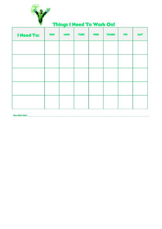 Things I Need To Work On Behaviour Chart - Green Lantern