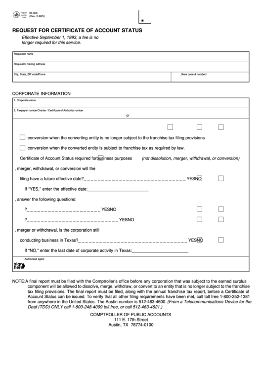 Fillable Form 05-359 - Request For Certificate Of Account ...