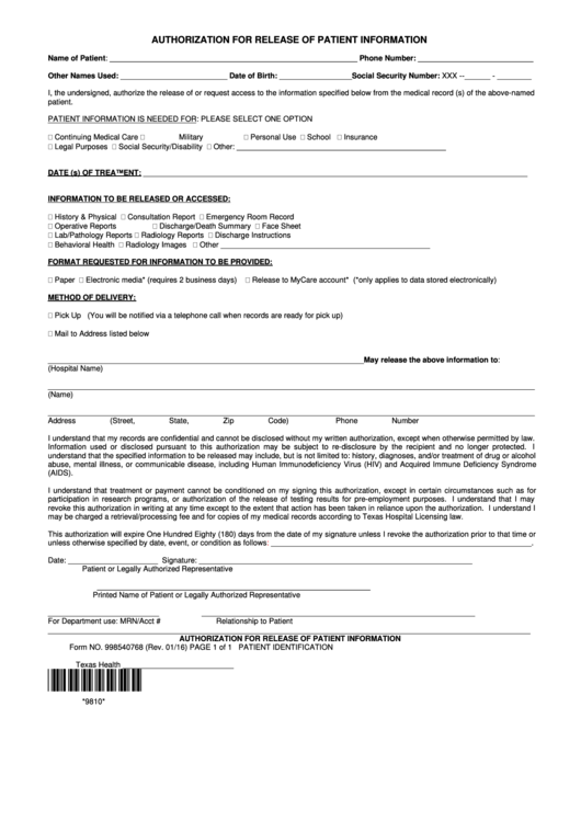 Authorization For Release Of Patient Information Form