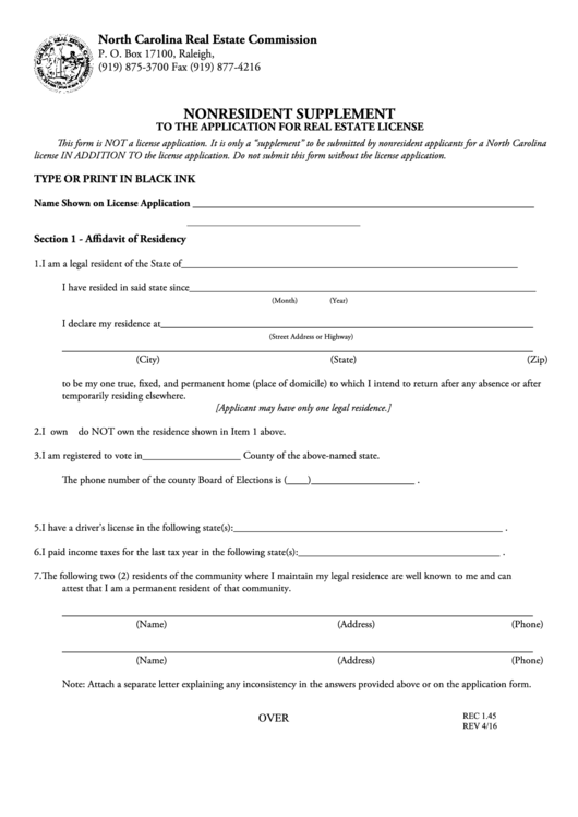Form Rec 1.45 - Nonresident Supplement To The Application For Real Estate License - North Carolina Real Estate Commission