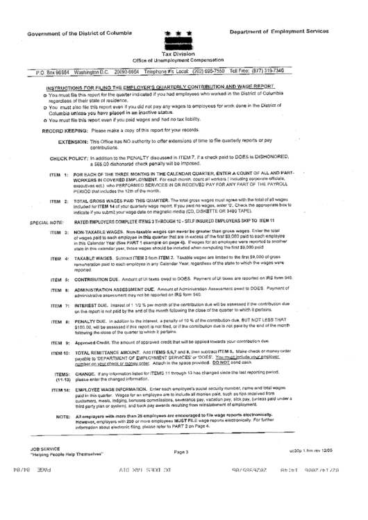 Instructions For Filing The Employer's Quarterly Contribution And Wage Report Form December 2005