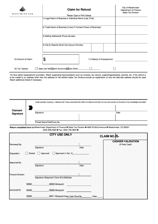 Fillable Claim For Refund Form - City Of Westminster Sales ...