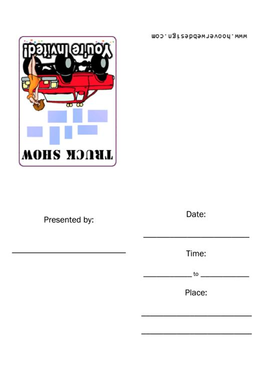 Truck Show Invitation Template Printable pdf