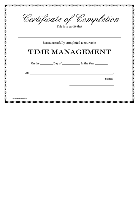 course in time management certificate of completion