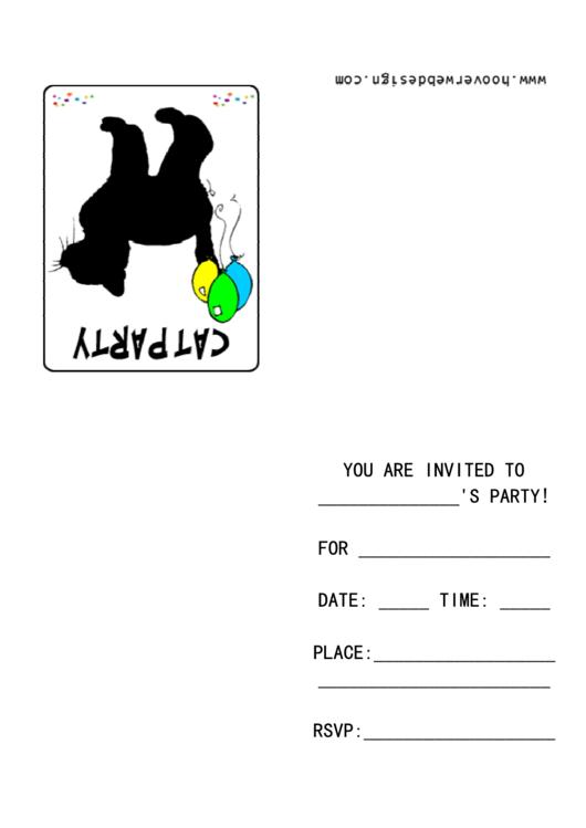 Cat Party Invitation Template Printable pdf