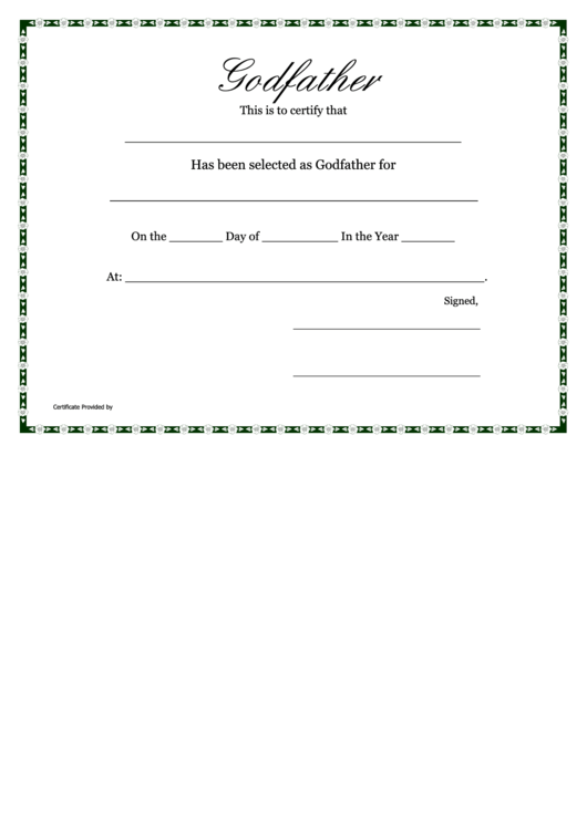 Top 13 godparents certificate templates free to download in pdf format godfather certificate template yelopaper Images