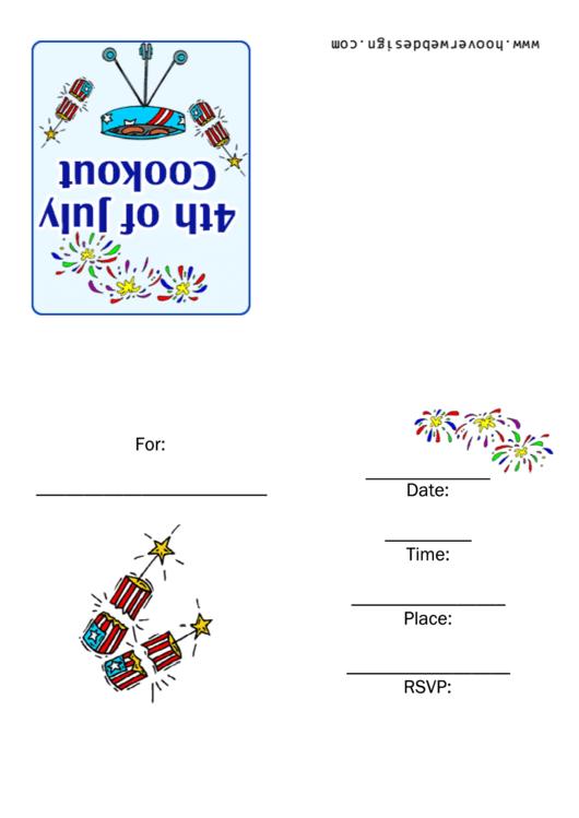 4th Of July Invitation Template Printable pdf