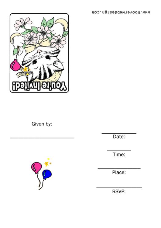 Cat - Party Invitation Template Printable pdf