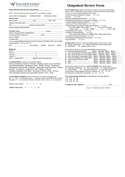 Outpatient Review Form - Valueoptions