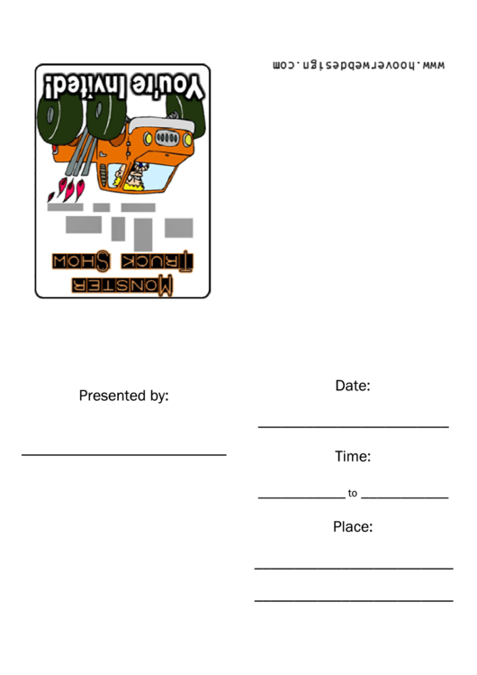 Monster Truck Show Invitation Template Printable pdf