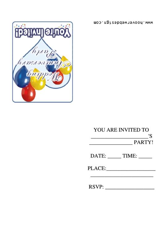 Wedding Anniversary Party Invitation Template