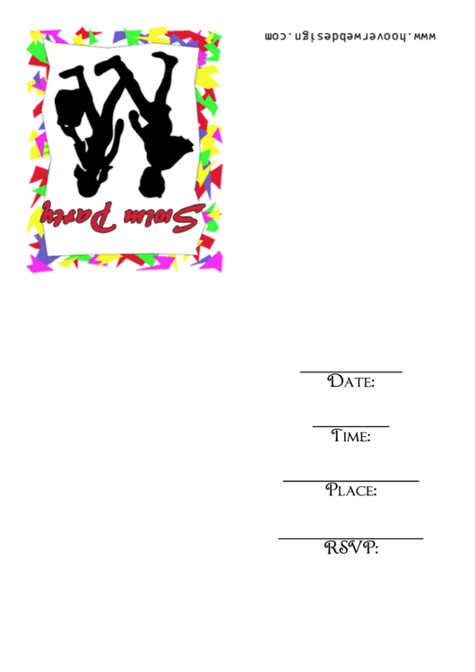 Swim Party Invitation Template Printable pdf