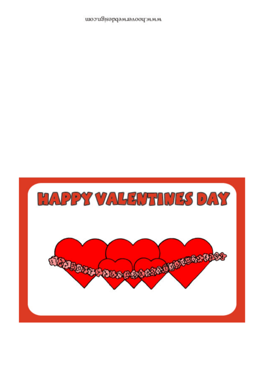 String Of Hearts Happy Valentines Day Card Template Printable pdf
