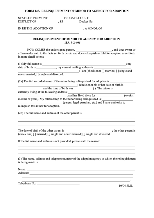 Form 128 - Relinquishment Of Minor To Agency For Adoption