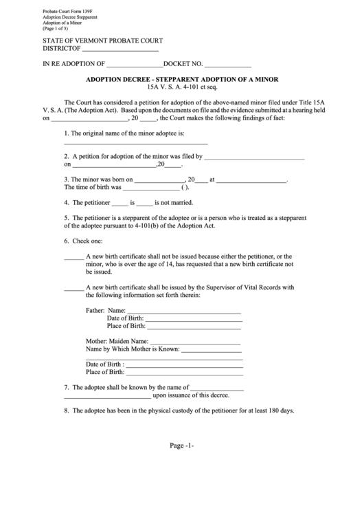 Probate Court Form 139f - Adoption Decree - Stepparent Adoption Of A Minor