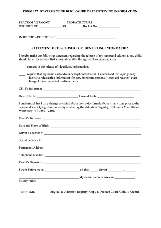Form 127 - Statement Of Disclosure Of Identifying Information