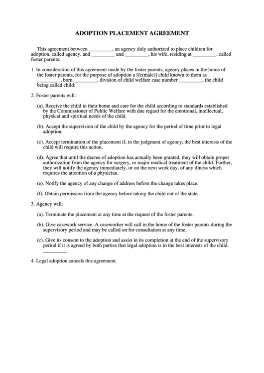 Adoption Placement Agreement Form Printable Pdf Download