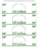 20 Dollars Off Gift Certificate Template