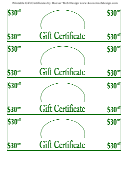 30 Dollars Off Gift Cerificate Template