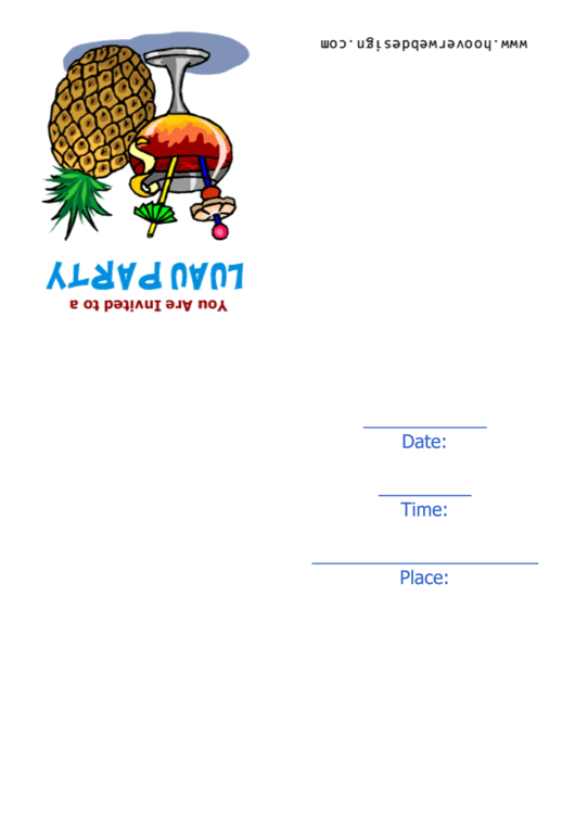 Luau Party Invitation Template Printable pdf