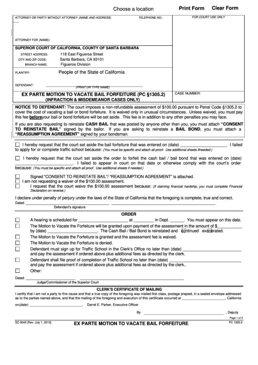 Form Sc-3045 - Ex Parte Motion To Vacate Bail Forfeiture - County Of Santa Barbara