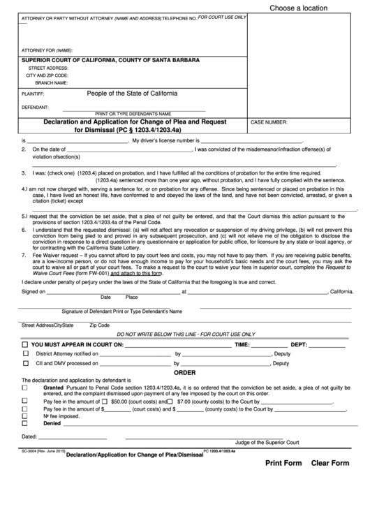 Form Sc-3004 - Declaration And Application For Change Of Plea And Request For Dismissal - County Of Santa Barbara