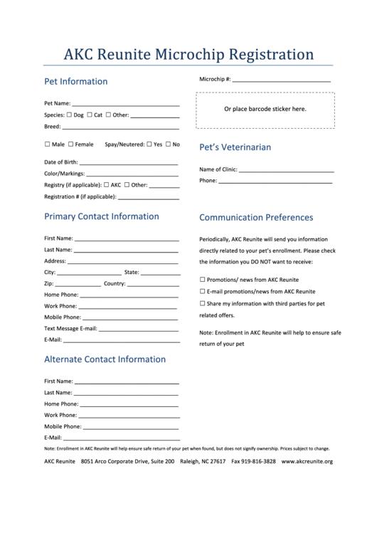 Fillable Reunite Microchip Registration Form - American