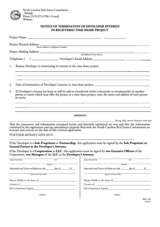 Form Rec 1.44 - Notice Of Termination Of Developer Interest - North Carolina Real Estate Commission